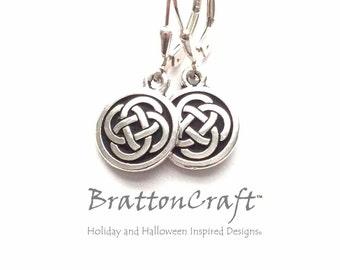 Silver Celtic Knot Earrings - Celtic Circle Earrings - Celtic Jewelry - Celtic Knot Jewelry - Irish Earrings - Scottish Earrings