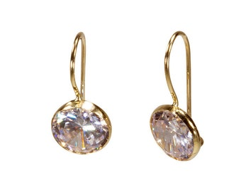 14k Gold Earrings, White Zircon Earrings, Cubic Zircon Earrings, Gold Drop Earrings, Solid Gold Earrings, White Earrings, Spring Sale