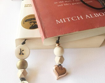 Bookmark - Beaded Bookmark - Personalised bookmark - Teacher Gift - leather Bookmark - Unique Bookmark - Teach Present