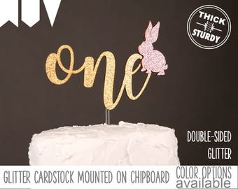 one cake topper with bunny, kid's birthday, some bunny is one, glitter party decorations