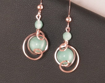 Aqua Blue Rose Gold Drop Earrings,Gold Filled Amazonite Stone Wire Wrapped Small Dangle Earrings, Rose Gold Aqua Blue Jewelry Gift For Her,