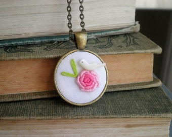 Embroidered Flower & Bird Necklace - Perched White Dove Pink Peony Embroidery Necklace - Flora Fauna Fabric / Fiber Art Nature Jewelry Gift