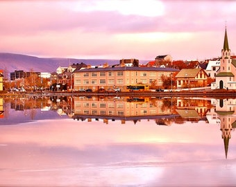 Pink City -Iceland Photo, Reykjavik, Winter Scenery, Lake Reflection, Beautiful Scenery, Pink Sunset, Surreal City, Purple Landscape, Frozen