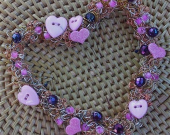 heart wreath ornament pink purple fuschia buttons beaded heart copper brass silver wire ooak romantic gift mother's day bridal wedding