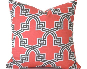 Pillow Covers ANY SIZE Decorative Pillow Cover Coral Pillow Premier Prints Hiro Bittersweet