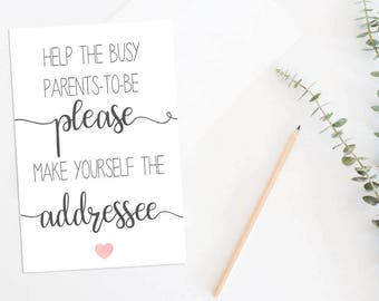 Help the Busy Mom-to-be Make Yourself the Addressee Sign, Printable Baby Shower Sign, Printable Address your Thank You Card Sign ABBS