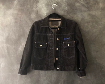 80s 90s Guess Black Jean Denim Jacket Charcoal Cropped Boxy 50s Inspired American Made Raw Denim Hipster Ladies Size S/M