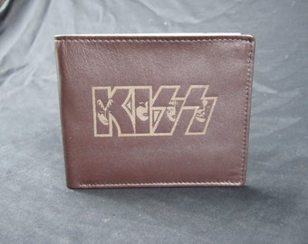 KISS leather bi fold wallet- hand made premium leather