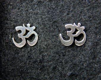 Sterling silver om yoga stud earrings