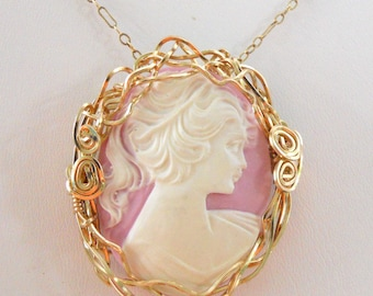 Sweet Young Girl Cameo Pink Brooch/Pendant