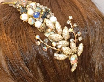 Crystal bridal hairband, Flower Girl hairband, Wedding hairband, Boho, floral headband, vintage wedding, hair accessory, something old