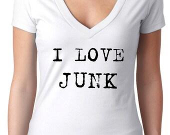 shopping tshirt - flea market finds - junk gypsy - vintage t shirt - womens tshirts - shopping shirt - vintage shirts - deep v neck -