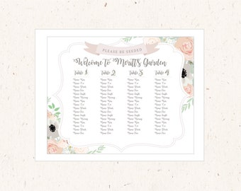 Seating Chart Board 16x20, Botanical Garden Collection, Korean 1st birthday, Dohl, Dol, Doljabi