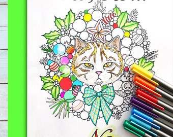 Holiday Cat Wreath with Slogan! Coloring page