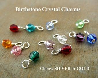 Birthstone Charm   Swarovski Birthstone Crystal   Birth Stone Swarvoski Faceted Round Charm 4 mm A La Carte Crystal Charm E. Ria Designs