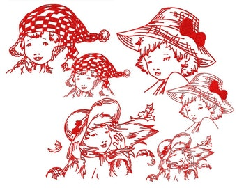 3 Redwork embroidery of children 4 x 4 and 5 x 7 format