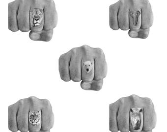 3 Temporary Tattoo Endangered Animal, Cecil the Lion, Polar Bear, Elephant, Tiger, Rhino- Finger Tattoos Waterproof -choice