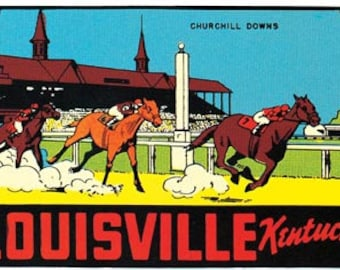 Vintage Style Louisville KY Kentucky Churchill Downs Derby Horse Racing   1950's   Travel Decal sticker