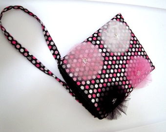 Evening Bag with Flowers and Sparkly Polka Dots