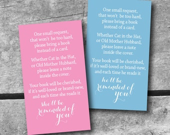 INSTANT DOWNLOAD Baby Shower Book request Card - color choice PRINTABLE  Itsy Belle