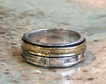 Spinner Ring, Stacking Ring, wedding band, Skinny Minimal ring, Silver gold Ring, Stackable Ring, unisex dainty ring - Two Worlds R2497