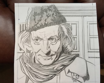 Unique  and very cool ORIGINAL pencil drawing of WILLIAM HARTNELL (Doctor Who) by Chris Naylor