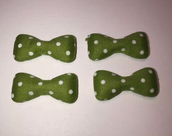 Sale Clearance 40 Pieces Large Bow Fabric Covered Flatback in Kiwi