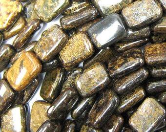 "13mm bronzite rectangle beads 16"" strand 34138"