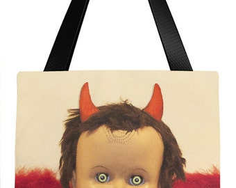Creepy Tote Bag, Back to School, Book Bag, Halloween Candy Bag, School Supplies, Church Book Bag, Guardian Angel Tote, Red Devil, Shoe Tote