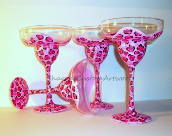 Bridesmaids Gifts - Bachelorette Party Free Personalization Hand Painted Margarita Glasses Set of 4 tall 13 oz. Leopard Print, Pink Leopard