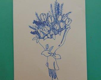 Bouquet de tulipes - dessin, fleurs