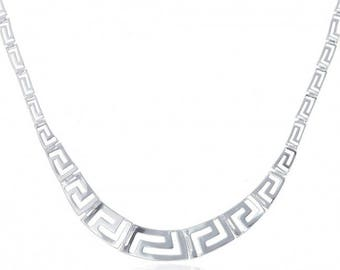 Sterling Silver Necklace with a Classic Greek Design, the Meander