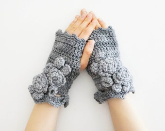 Elegant Rose Arm Warmers, hand warmers, gray hand painted merino wool, arm warmers, READY to SHIP, gift for her