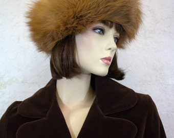 1960's Red Fox Fur Hat with Quilted Lining