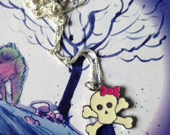 Necklace Skull Goth Gothic Rocker Rock Chick Dark Cute Kawaii Lolita Emo Metal Creepy
