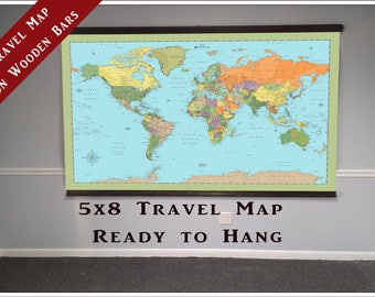 Hanging world travel map 40x60 map on wooden bars works with world push pin travel map largest travel map of the world 5x8ft push pin travel map on wooden bars map tm204 gumiabroncs Choice Image