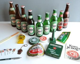 Heineken collection, vintage Heineken beer bottles, Heineken bottle opener, Amstel beer, Heineken pins, coasters, advertising pen Heineken