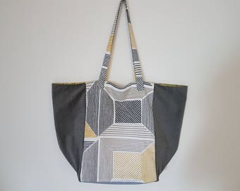 Fully lined 3 material tote bag: Scandinavian cotton, velvet and faux leather