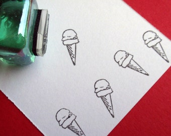 Ice cream Cone Rubber Stamp -  Handmade by BlossomStamps