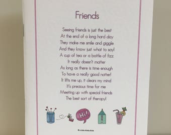 Friends Notebook, Friends Notepad, Friends Poem, Gift for Friend, Gift for Her, Her Birthday, Best Friend, Thank You Gift