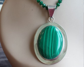 Sterling silver vintage malachite pendant with green jade necklace