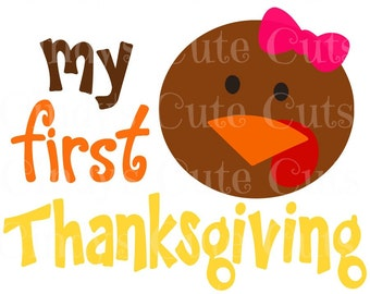 My First Thanksgiving Turkey Girl Cuttable, dxf, eps, png, jpeg, svg, silhouette, circuit