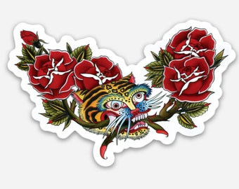Korean Tiger with Roses die cut sticker