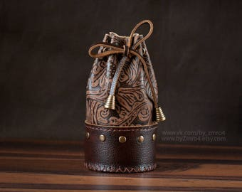 Bag for Runes, Brown Leather Medieval Rune Bag, Coin Brown Drawstring Pouch, Fantasy Belt Coin Runes Purse, Viking Bag, Brown Rune Holder