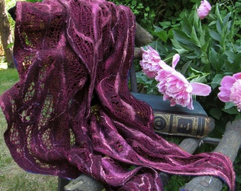 Purple Knitted Felted Scarf Wrap