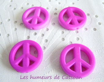 4 charms in peace and love purple 20mm / Pearl peace / acrylic charm / peace sign