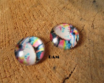 Set of 2 cabochon pattern abstract 12 mm