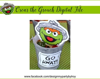 OSCAR THE GROUCH Instant Download,Oscar the Grouch Digital Files,Sesame Street Party Printable,Elmo Party Decor,Oscar Silhouette with Sign.