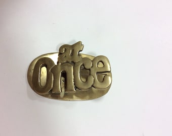 Brass Note Clip-Brass At Once Paperclip