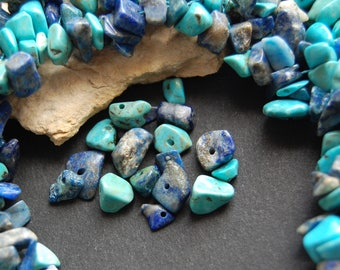 Set of 40 beads turquoise chips and lapis lazuli - approx 8 mm